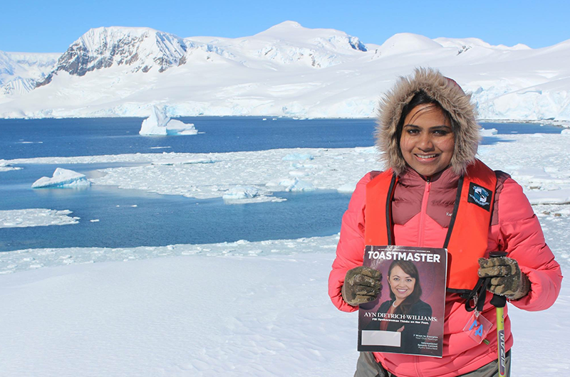 Krishnapriya Vijaya Kumar, ACS, CL, from Victoria, Australia, braves the cold in Cuverville Island, Antarctica.