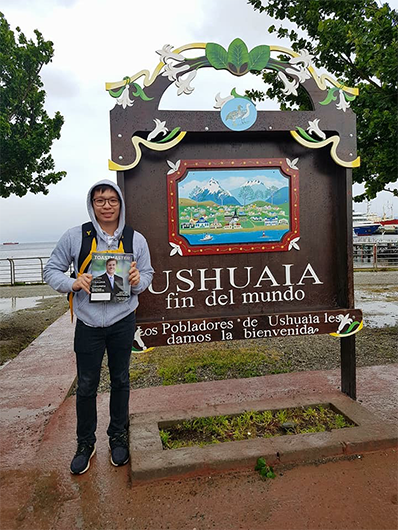 "Myles Tan, from Manila, Philippines, visits Ushuaia, Argentina, nicknamed ""fin del mundo,"" and commonly regarded as the southernmost city in the world."