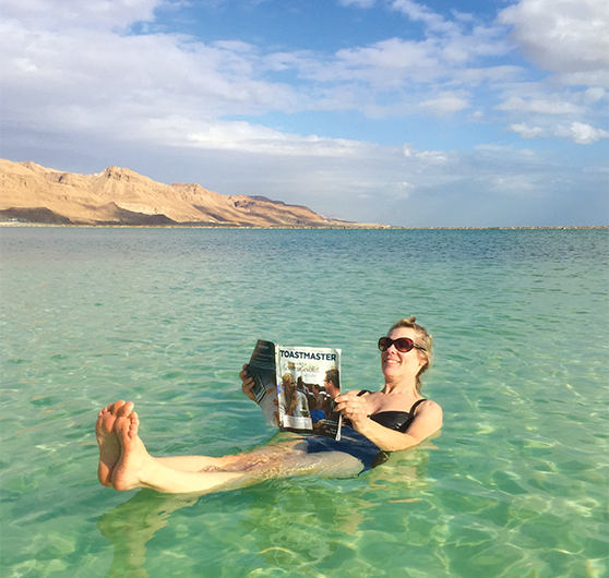 Roni Mitch, CC, from Plains, Montana, floats in the Dead Sea near Ein Bokek, Israel.