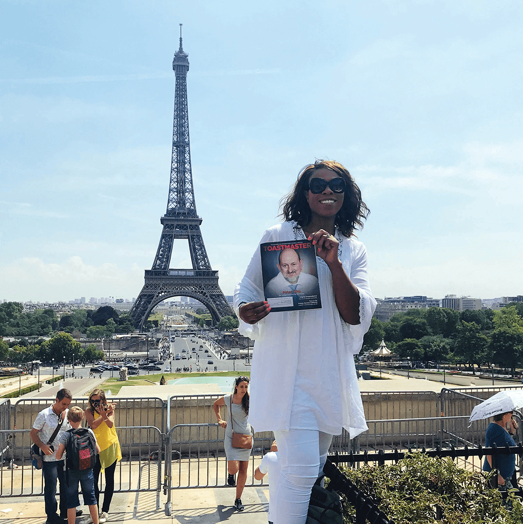 Adrian Jefferson Chofor, of Antioch, California, at the Eiffel Tower on the Champ de Mars in Paris, France.