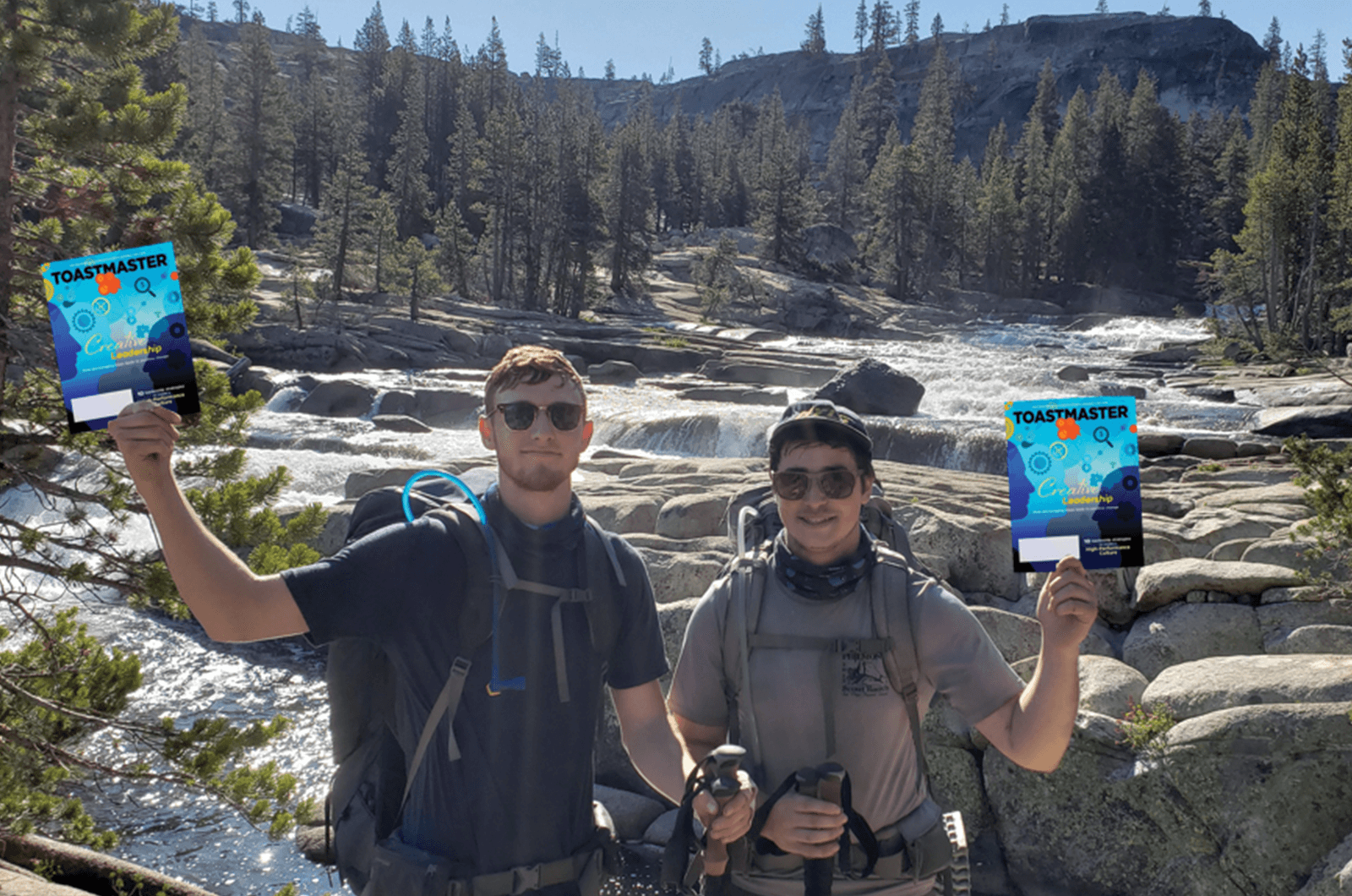 Caleb Thibodeaux and Brandon Killian, of San Diego, California, stop during a four-day, 48.85-mile (79-kilometer) backpacking trip with the Sierra Club through Yosemite National Park in California.