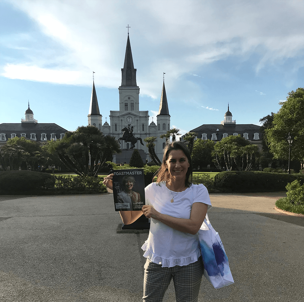Jennifer Harris, ACS, of Sacramento, California, stops in Jackson Square—a historic park in the French Quarter of New Orleans, Louisiana.