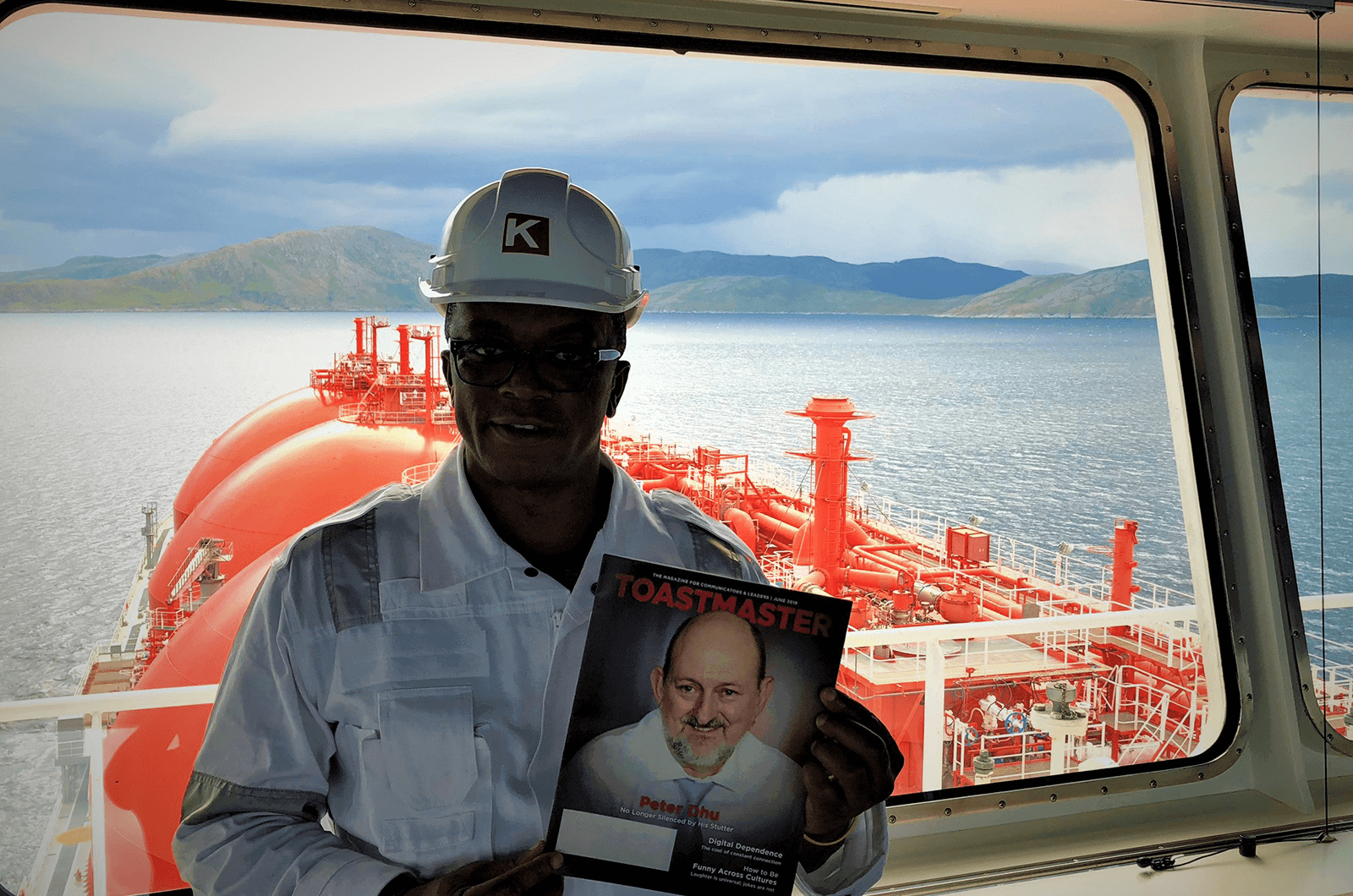 Ken Essien, ACS, ALB, of London, United Kingdom, works on a Liquified Natural Gas Tanker in the Norwegian Sea.
