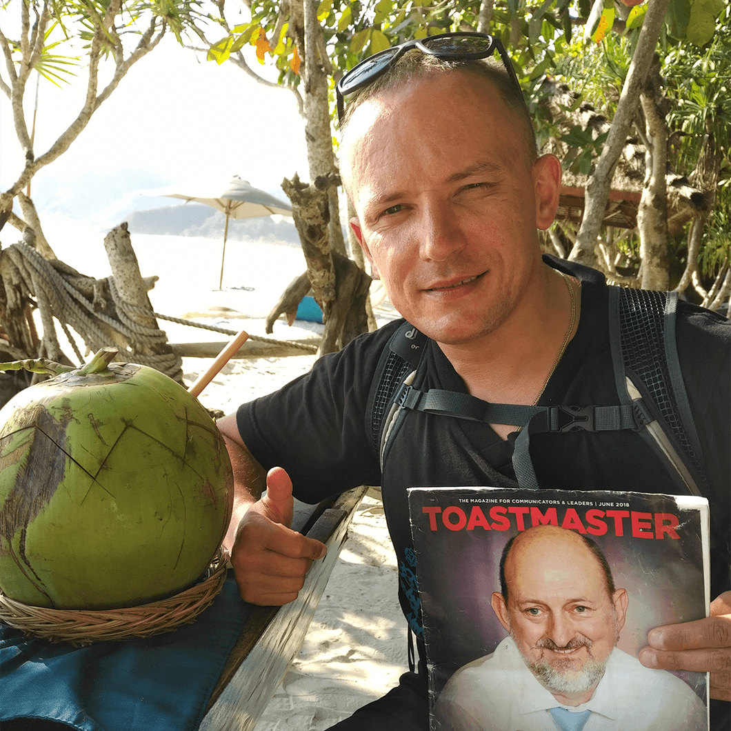 Vasily Ogievsky, CC, from Dublin, Ireland, relaxes with a coconut in Lombok, Indonesia.