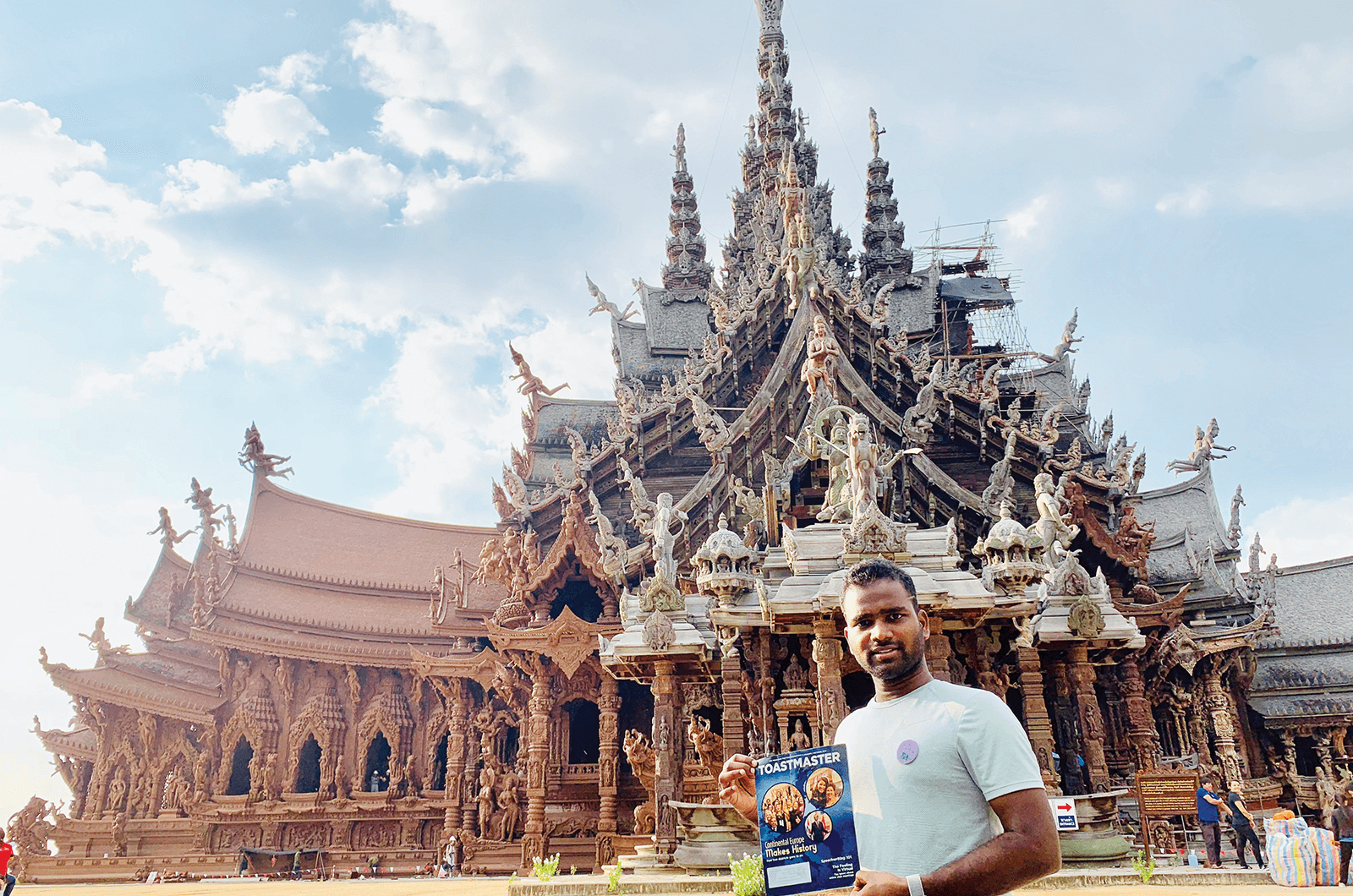 Vinay Darunam, of Englewood, Colorado, explores the architecture at the Sanctuary of Truth in Pattaya, Thailand.