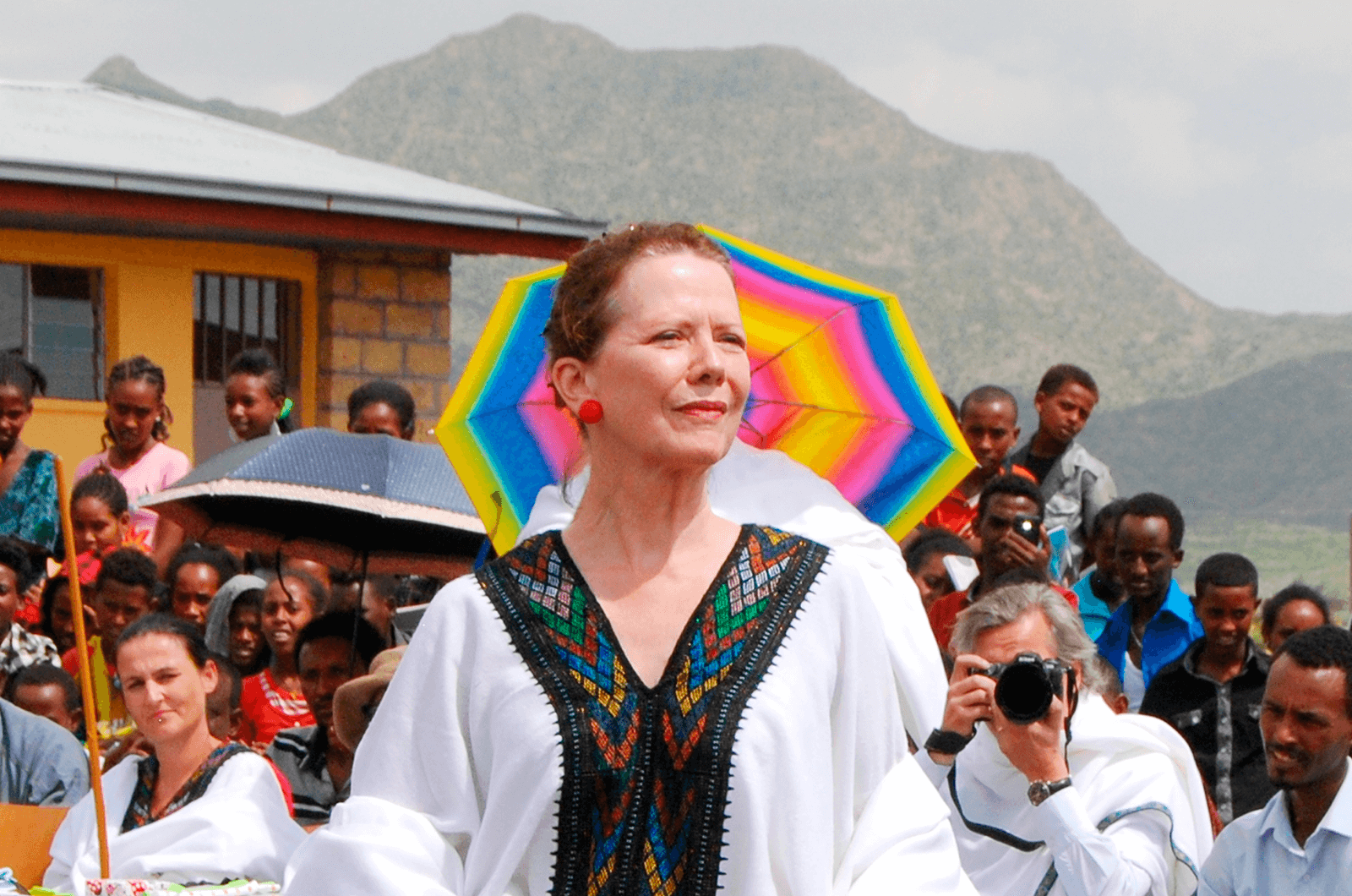Lesley Stephenson at the opening of new school buildings at Lemlem Baro School in Mehoni, Ethiopia. Photos courtesy of Ethiopian Enterprises