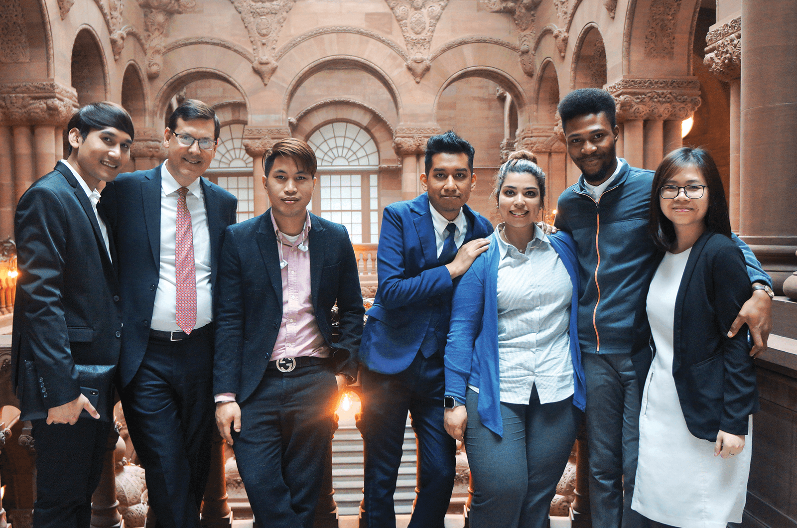 Jim Luce (second from left) visits the New York State capitol with members of the Young Global Leaders program to meet with state assembly members.
