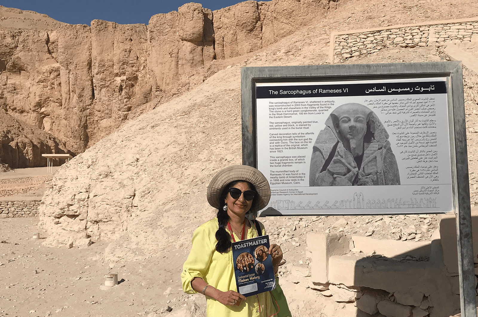 Poonam Bhavinani of Atlanta, Georgia, visits pharaonic tombs at the Valley of the Kings in Luxor, Egypt.
