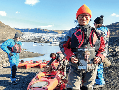 Siu Yan Scott, CC, of Euclid, Ohio, carves her own path at the Sólheimajökull glacier in southern Iceland.