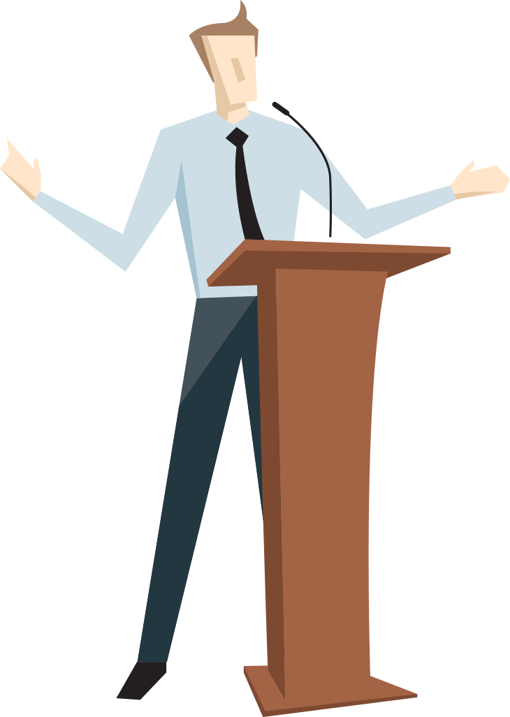 Man speaking at a podium