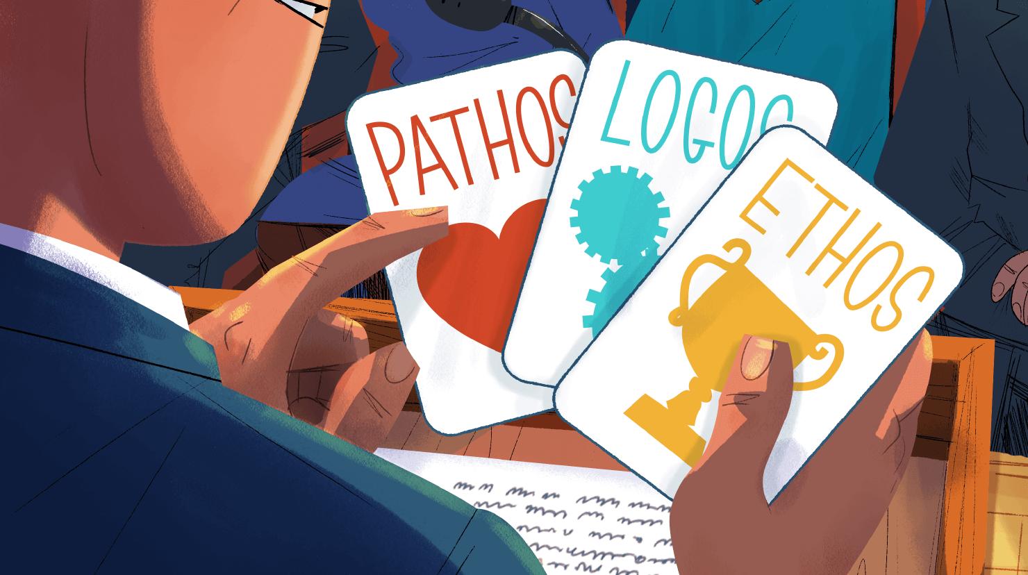 Cartoon male holding pathos, logos and ethos cards