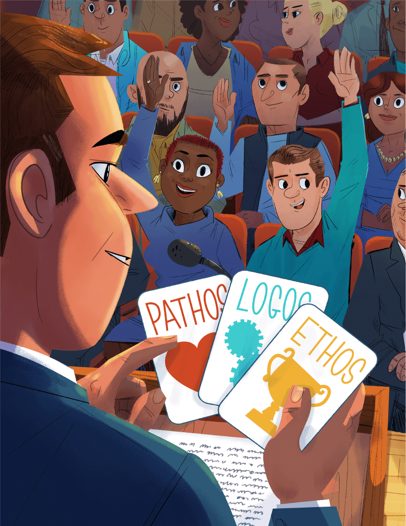 Cartoon male holding pathos, logos and ethos cards