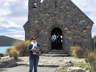 Adriana Arias Restrepo of Fort Lauderdale, Florida, explores the Church of the Good Shepherd on the shores of Lake Tekapo, New Zealand.