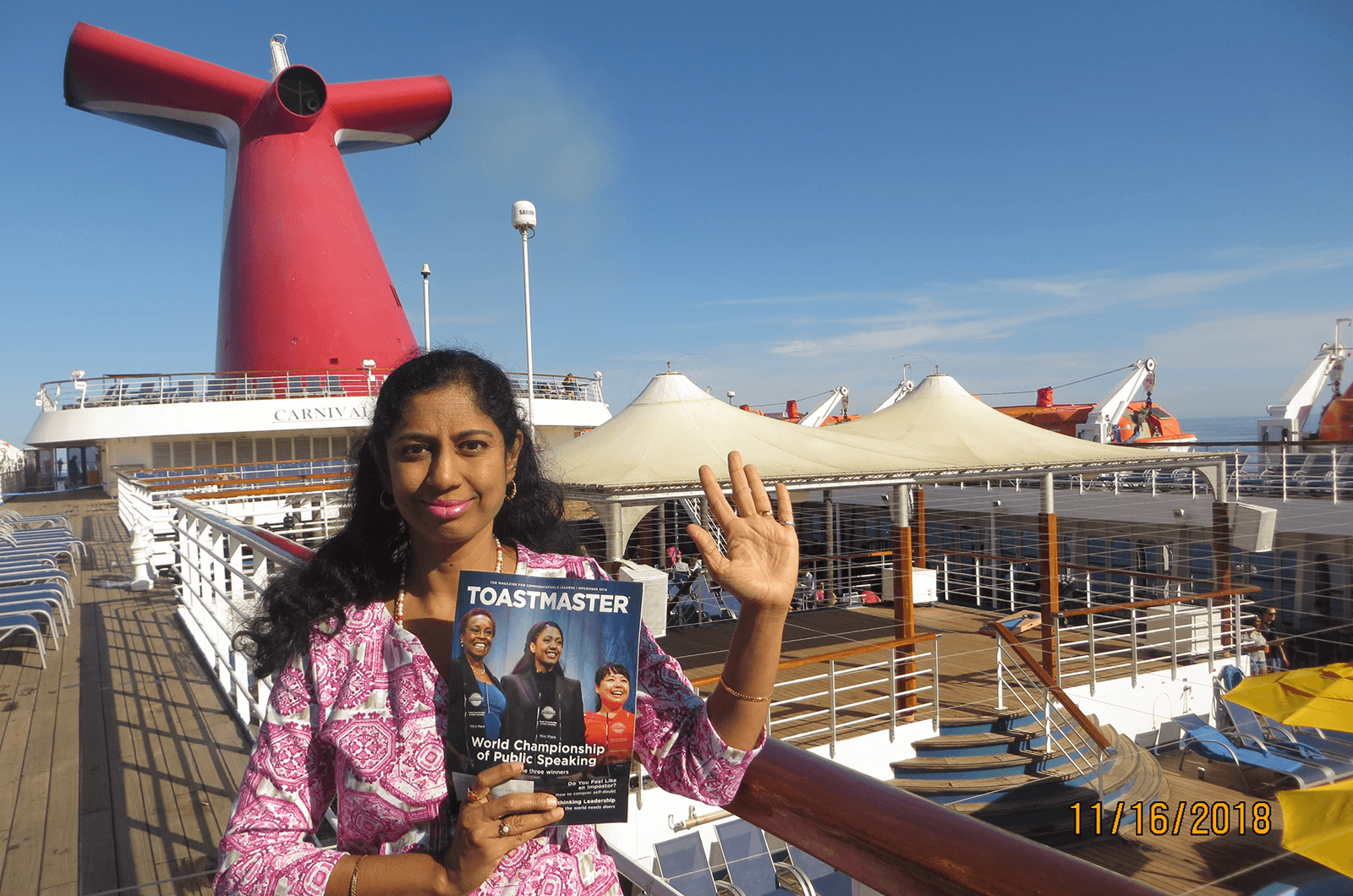 Vidhya Dhamodharan of Simi Valley, California, waves from the deck of a cruise ship on her trip to Mexico.