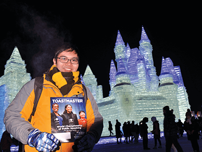 Lam Ngai Fung of Tai Po, Hong Kong, celebrates his birthday with a visit to the International Ice and Snow Sculpture Festival in Harbin, Heilongjiang, China.