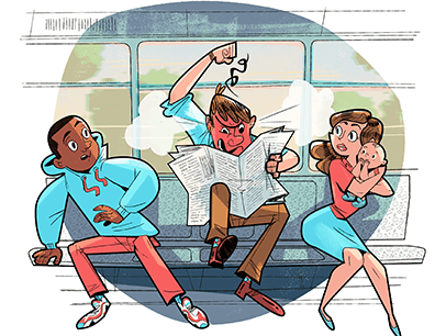 Illustration of man holding newspaper and male and female reacting next to him