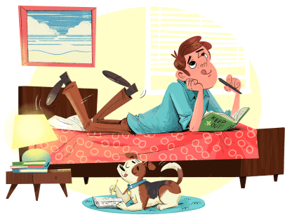 Illustration of man laying on bed with dog on floor