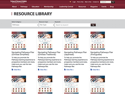 Resources Library webpage showing Navigating Pathways fliers in multiple languages