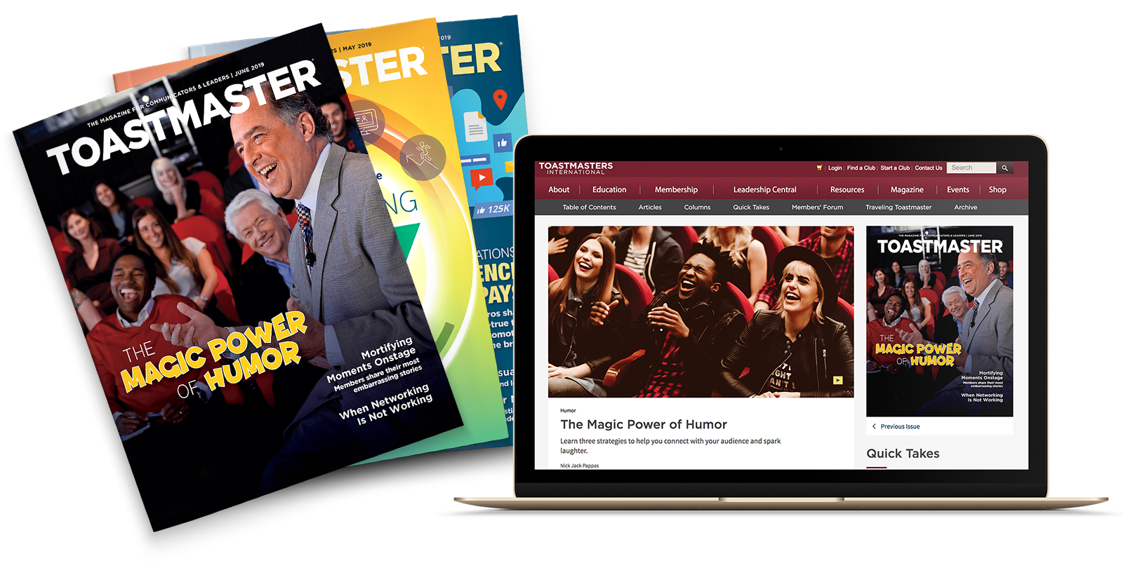 Toastmaster Magazine in print and online on laptop