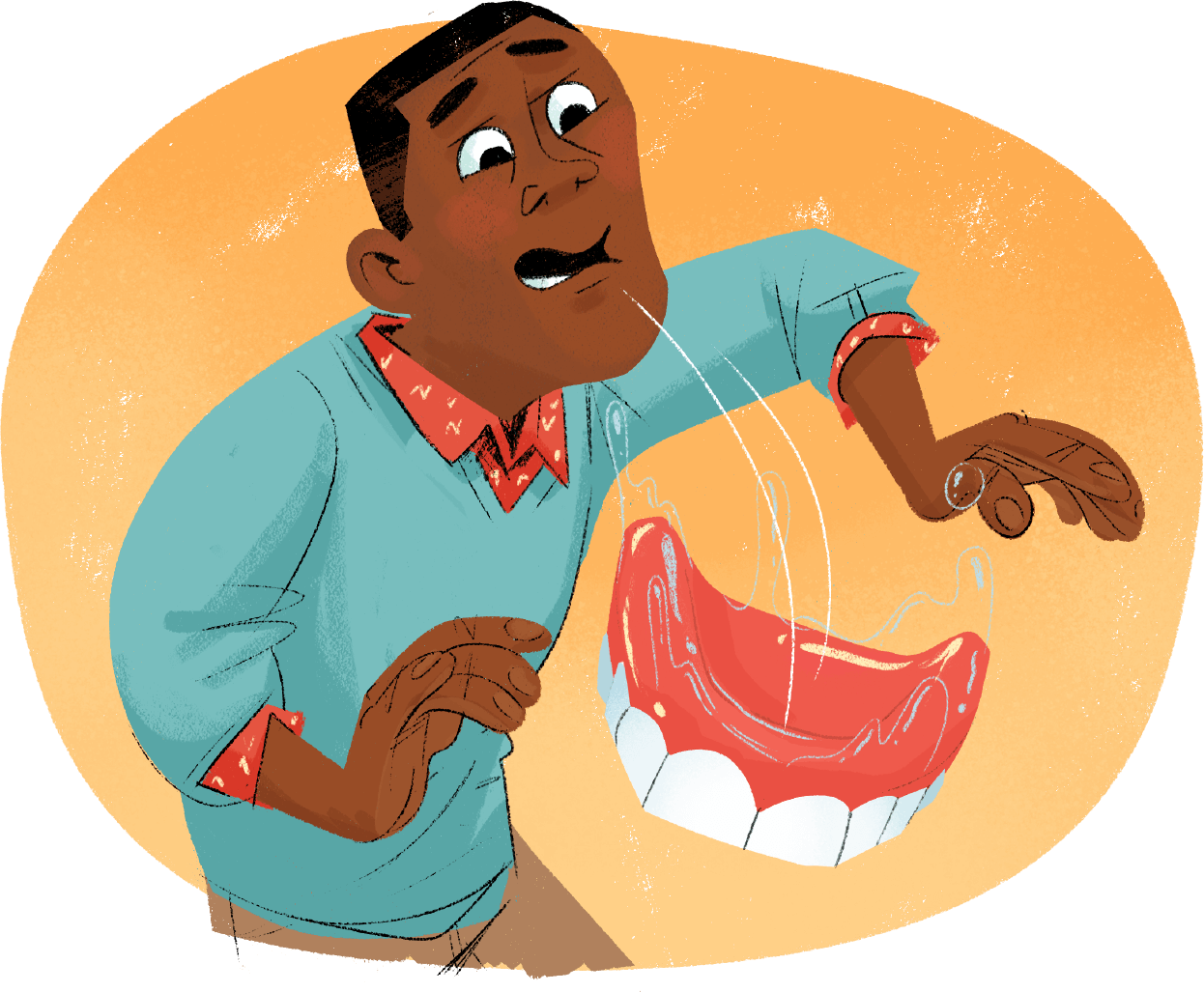 Illustration of African American male with dentures coming out of mouth