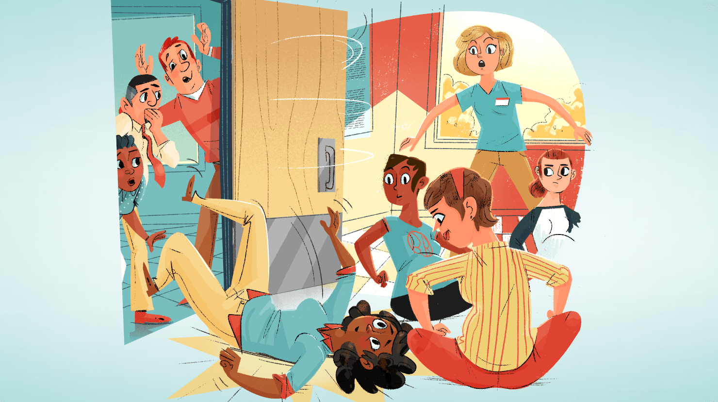 Illustration of woman fall through door into room of expectant mothers