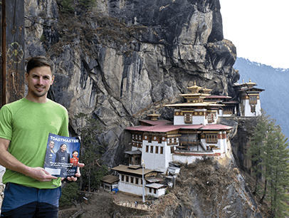 Jakub Kunat of Pardubice, Czech Republic, climbs to the Tiger's Nest Monastery, a Buddhist sacred site in Bhutan.