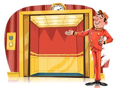 Cartoon of man standing at an elevator