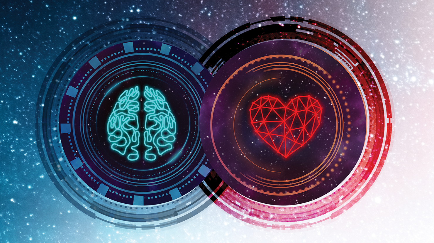 Conceptual image showing a brain and a heart next to each other