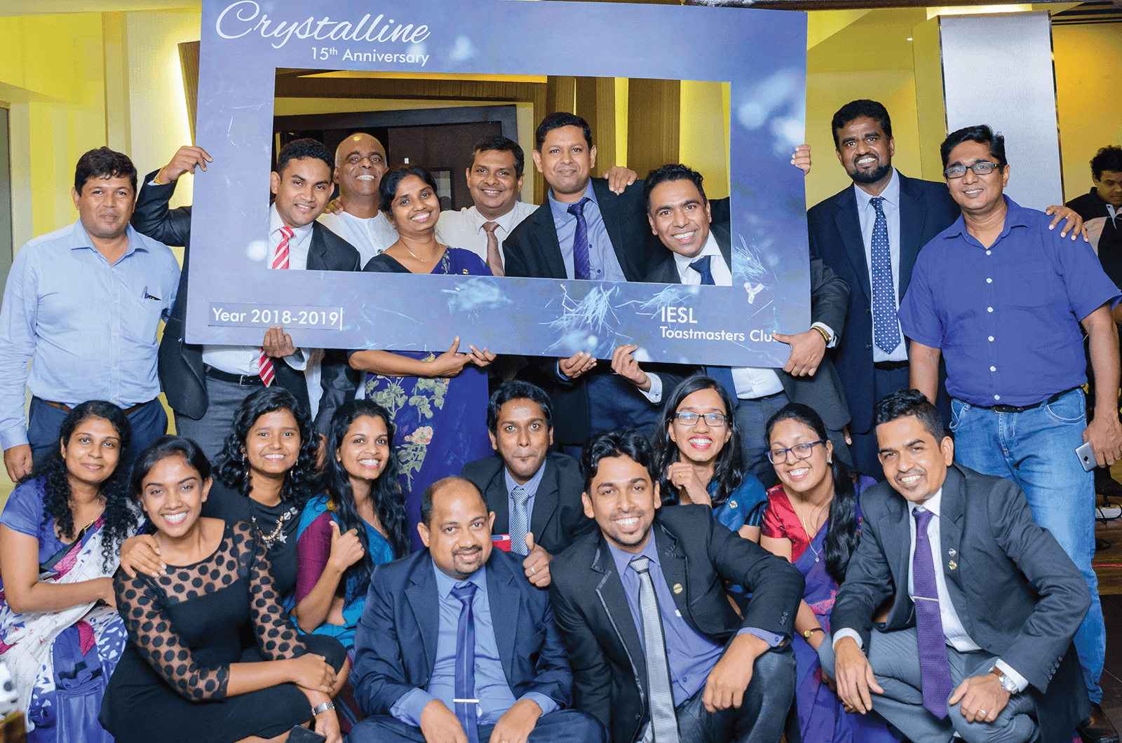 IESL Toastmasters of Colombo, Sri Lanka, celebrate their 15th anniversary at the Institution of Engineers Sri Lanka with current and charter members.