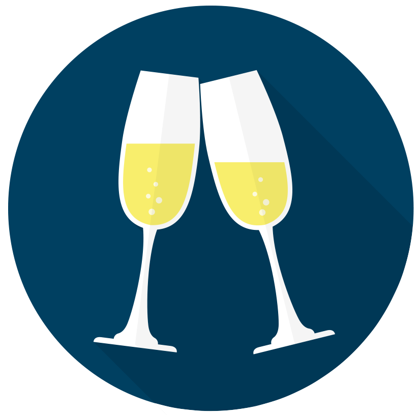 Two glasses toasting