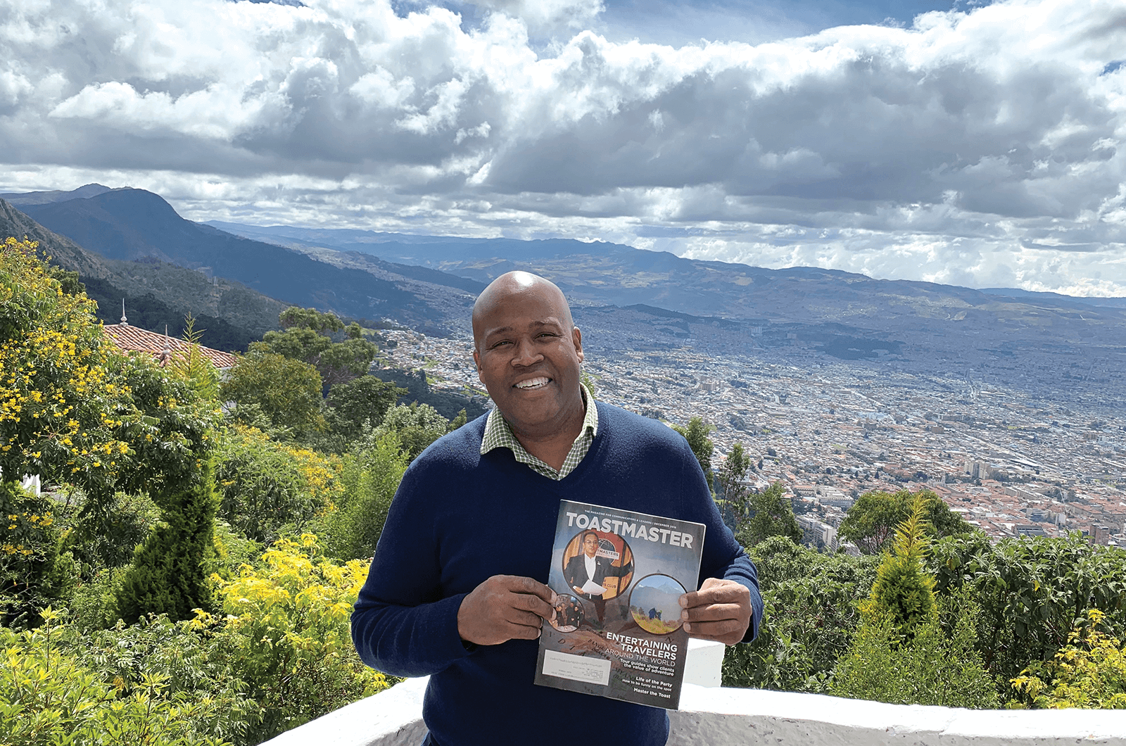 George Lincoln Wilks Jr. of Hyattsville, Maryland, looks over Bogotá, Colombia, the third-highest capital in the world at 8,612 feet (2,625 meters).
