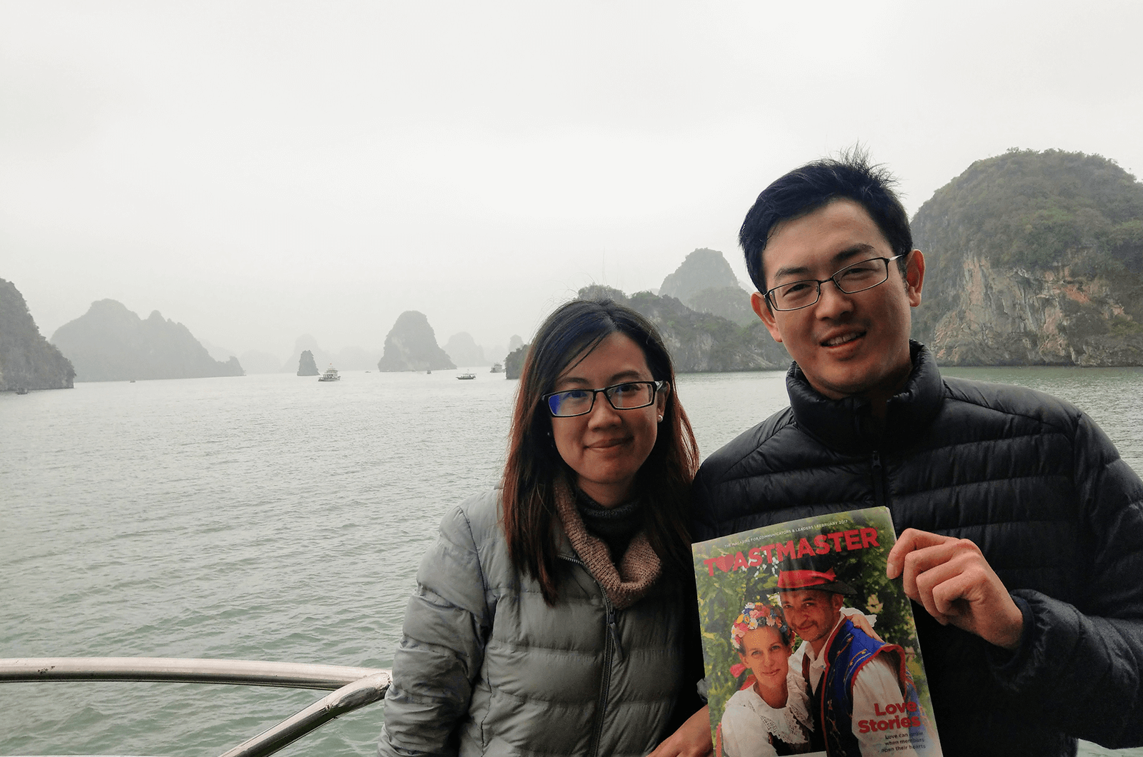 Isa Chou and Steve Chen of Taipei, Taiwan, enjoy a cruise in Halong Bay, Vietnam.