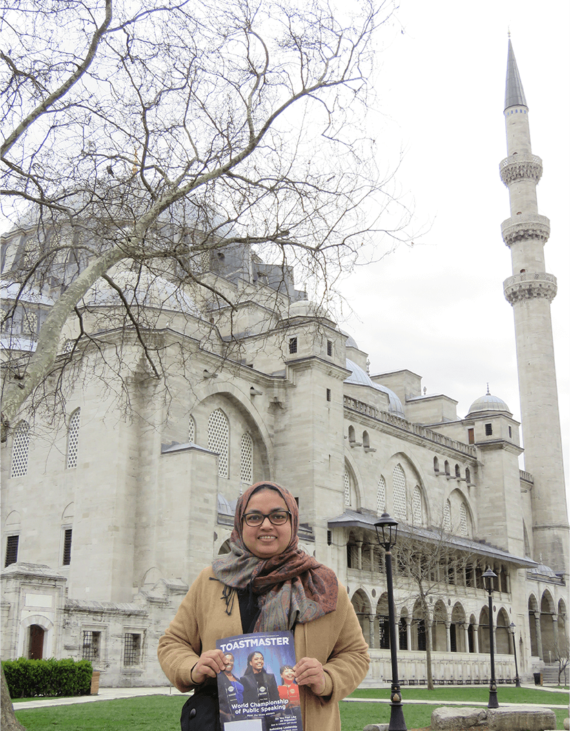 Rehna Khalid of Dubai, United Arab Emirates, enjoys a solo trip through Turkey. In this photo, she stands outside Suleymaniye Mosque—one of the best-known sights and second-largest mosque in Istanbul, Turkey.