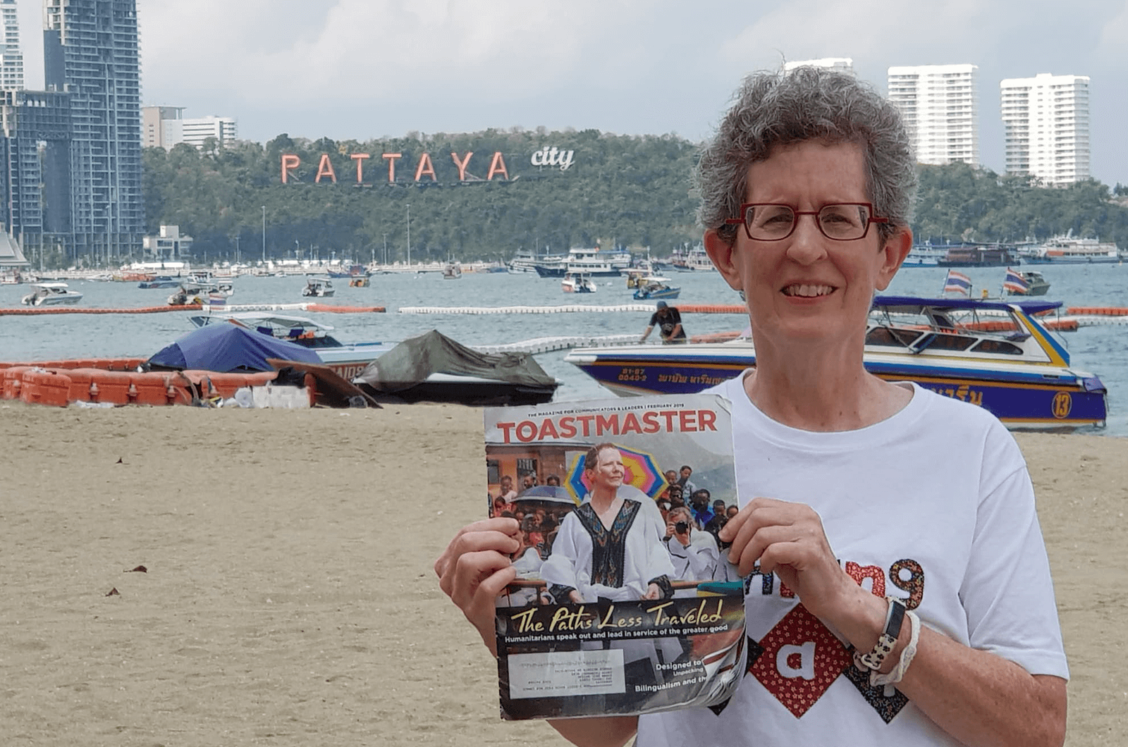 Susan Aviram of Shaker Heights, Ohio, visits Pattaya City, Thailand. She took this trip to see an exchange student who lived with her 20 years ago.
