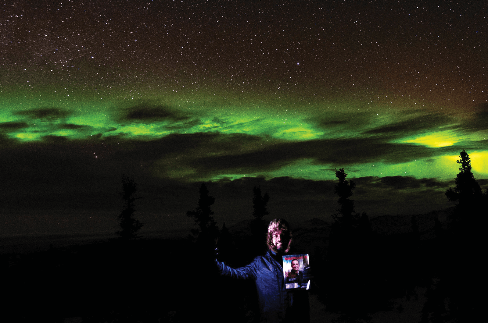 Vinay Darunam of Englewood, Colorado, finds a thrill in watching the Aurora Borealis in the city of North Pole, Alaska, U.S.