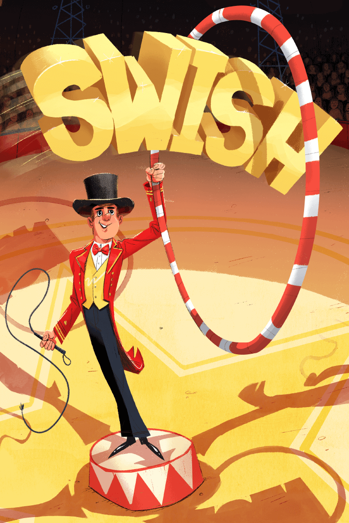 Illustration of circus ringmaster with the word swish going through the ring