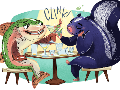 A fish and skunk at a table