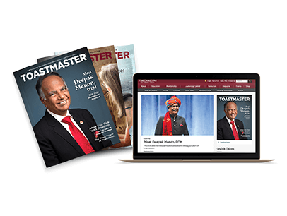 Image of Toastmaster magazine in print and online