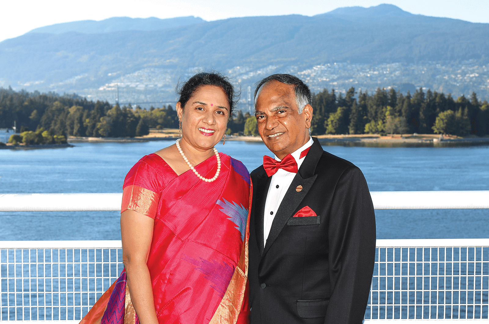 Menon and his wife, Kavita, attend the International Convention in Vancouver, Canada, in 2017.