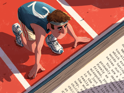 Illustration of cartoon man at starting line of race with book