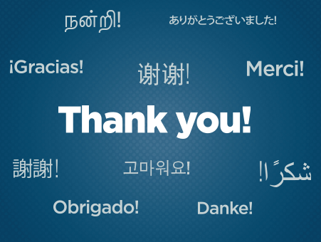 Thank you written in different languages
