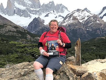France Germain of Garibaldi Highlands, British Columbia, Canada, takes in the inspiring vistas of Mount Fitz Roy near El Chaltén, Argentina.