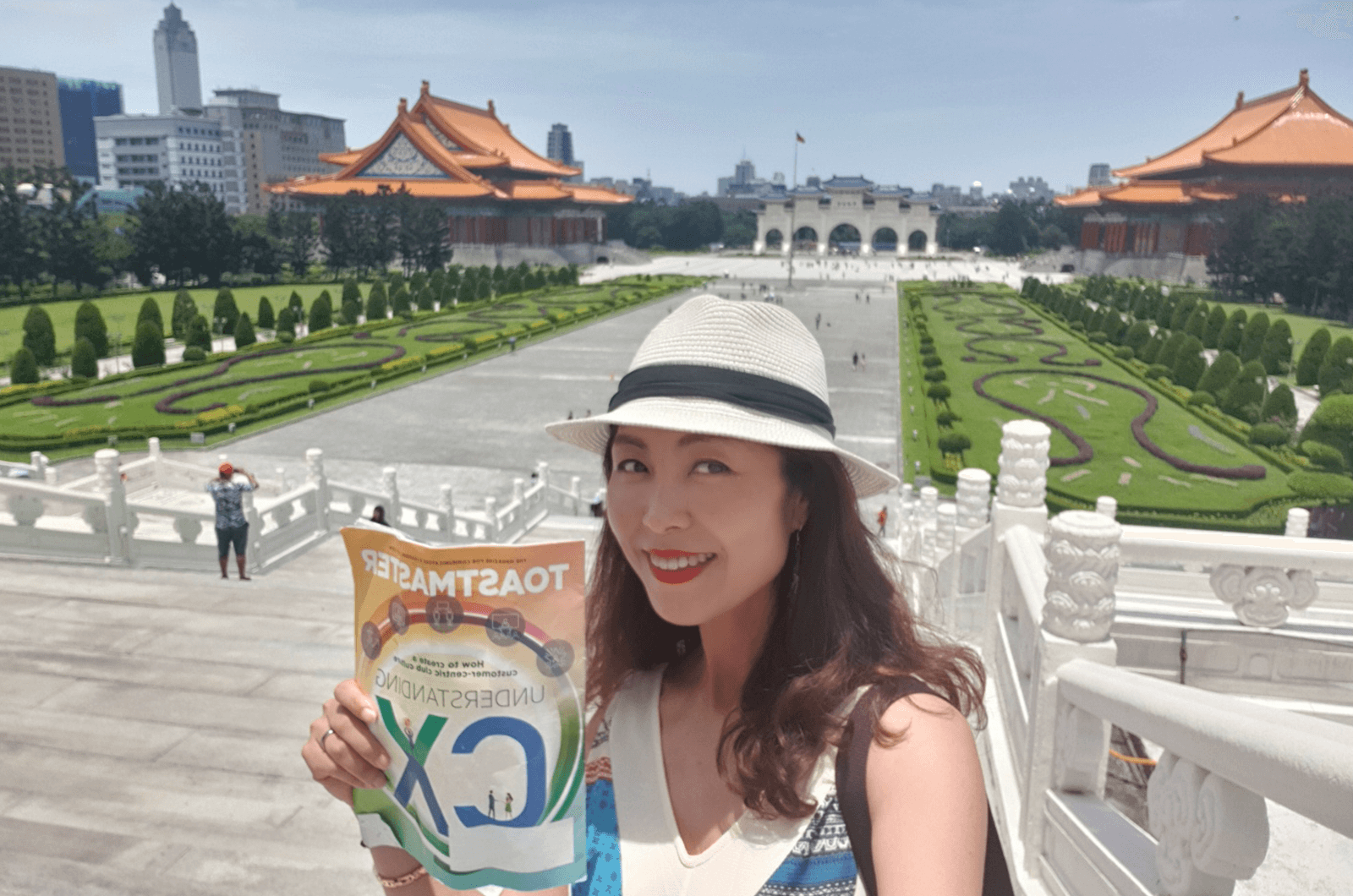 Hyuna Lee of Daegu, South Korea, snaps a selfie with her Toastmaster in Liberty Square, a common public gathering place in Taipei, Taiwan.