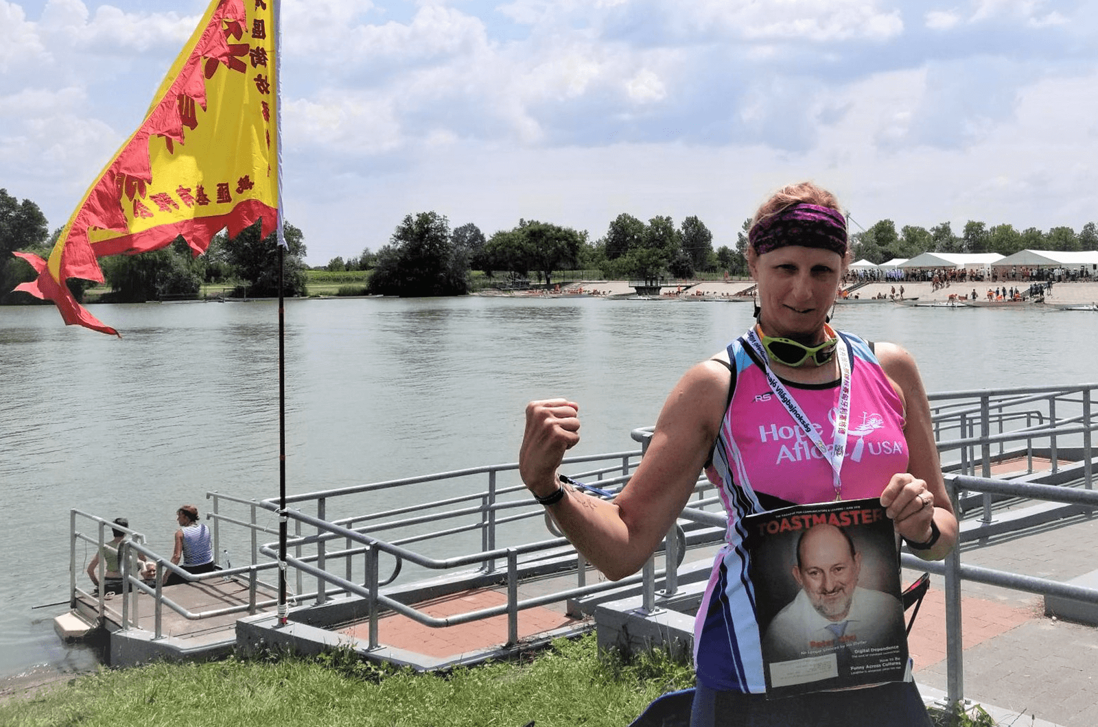 Kathy Myers of Philadelphia, Pennsylvania, competed in the International Dragon Boat Federation National Club Crew Championships in July 2018. She and her team earned the bronze medal in the short boat competition—a 500-meter race—in Szeged, Hungary!