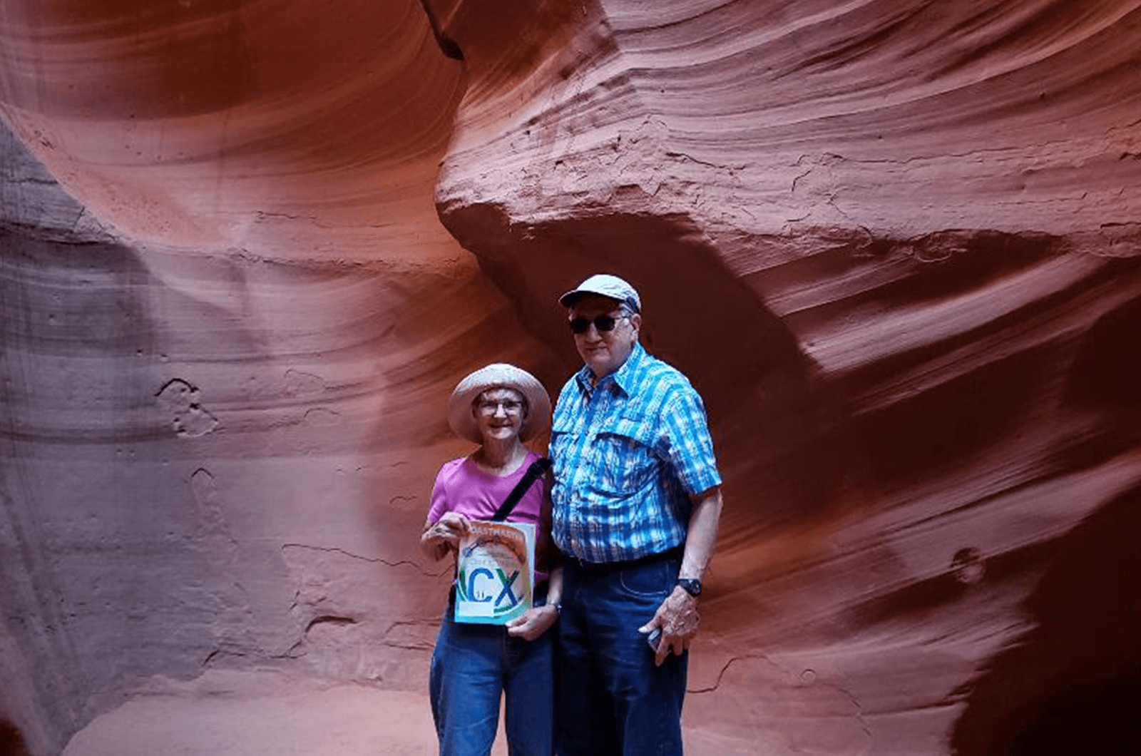 Sandy Kardis, DTM, and Tony Kardis of Creve Couer, Missouri, observe the geological features inside the Antelope Canyon Slot in Page, Arizona.
