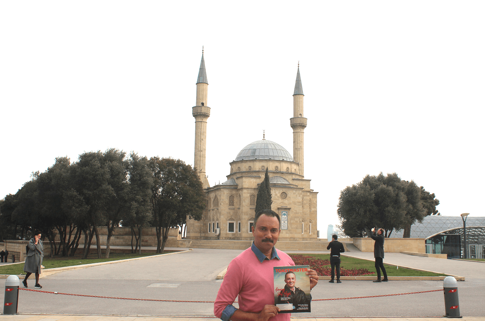 Shafeek Mohammed of Bangalore, India, enjoys a trip through Baku, Azerbaijan. In this photo, he poses outside the Mosque of the Martyrs, the official residence of religious representatives of the Turkish embassy.