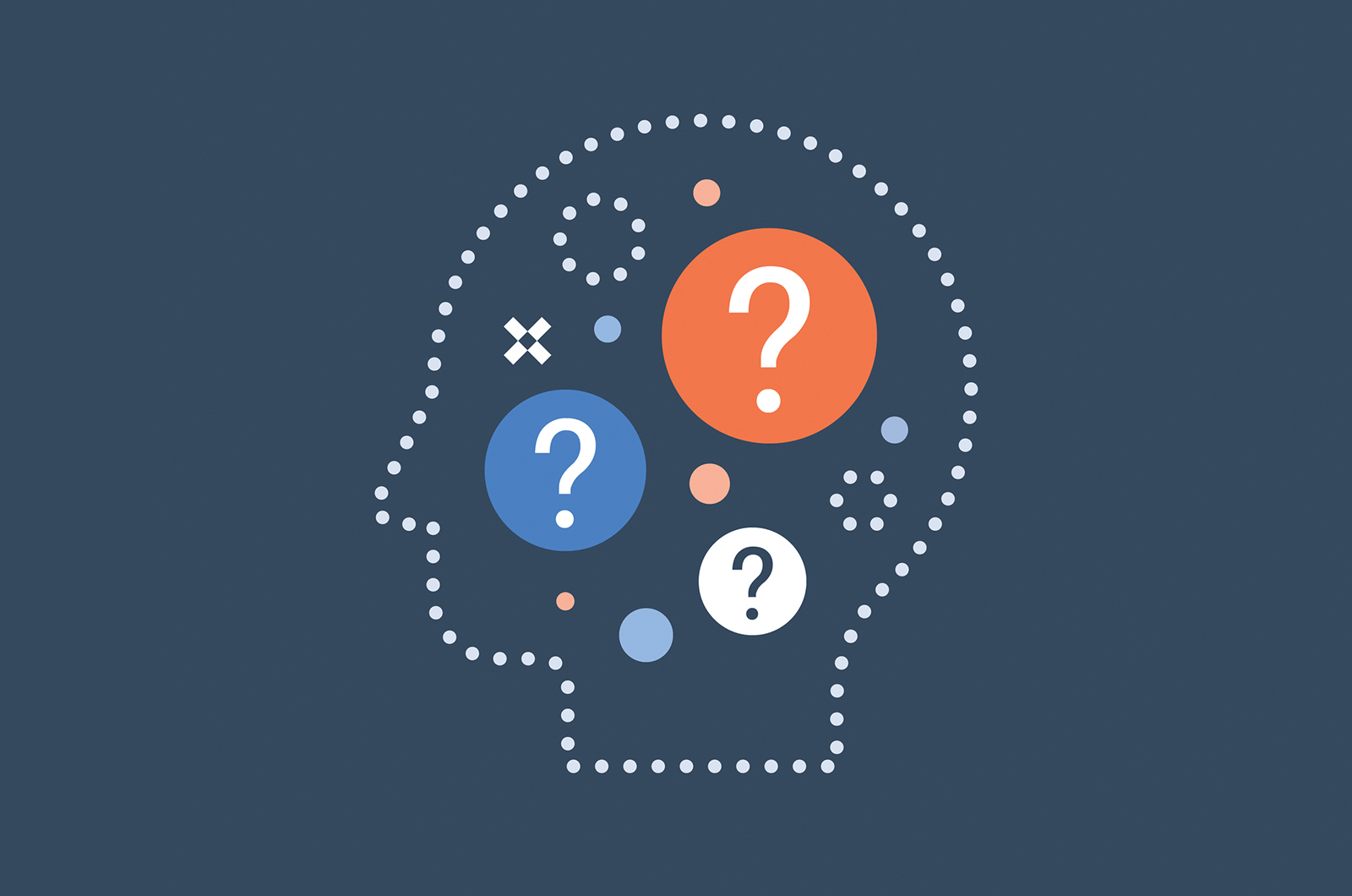 Illustration of a head outline with question marks