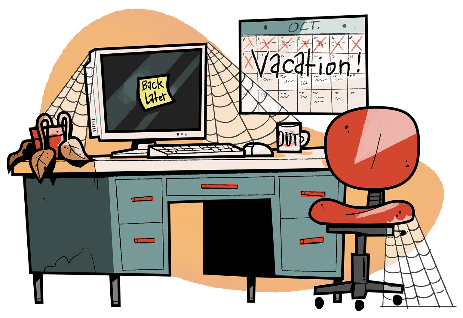 Illustration of vacant desk and chair