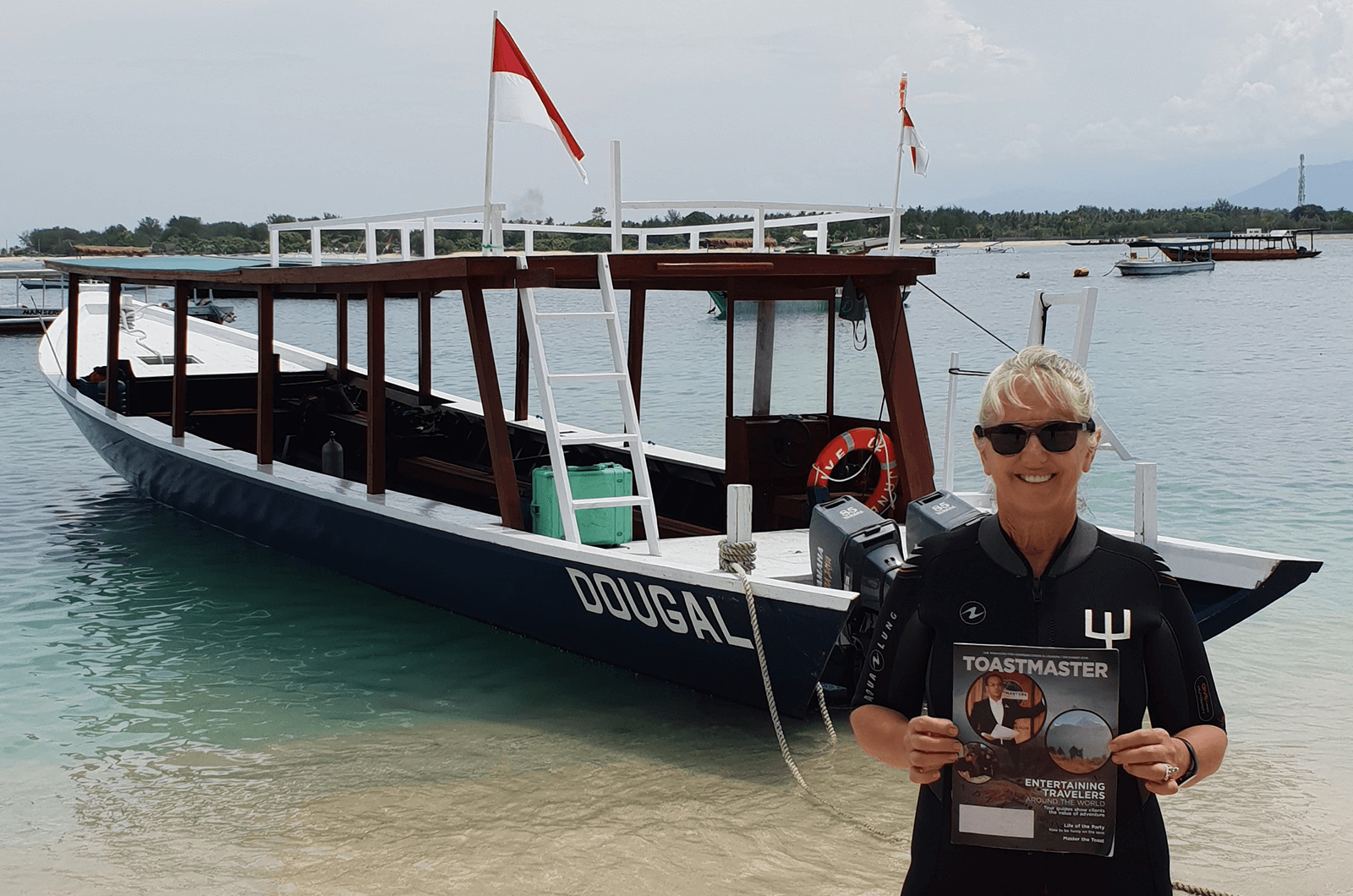 Debbie McCarthy of Brisbane, Australia, stands on the beach of the Gili Islands, Lombok, Indonesia, after scuba diving.