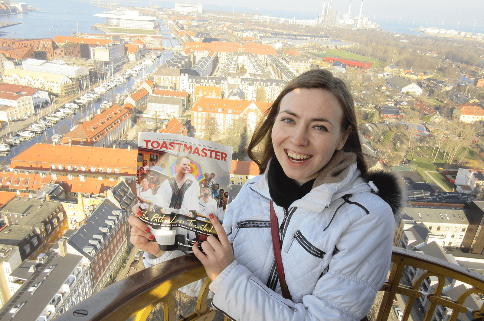 Irina Suvorova of Moscow, Russia, stands at the top of the Church of Our Savior's tower overlooking Copenhagen, Denmark.